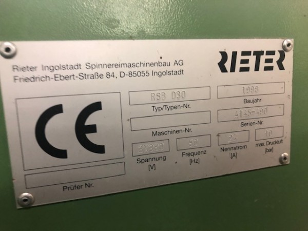 Etirage RIETER RSB D30  - Occasion 1998